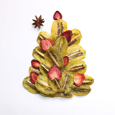 طرح درخت کریسمس با کیوی خشک